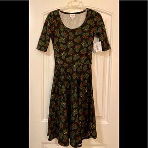 Christmas Holly A-Line Dress LuLaRoe Nicole XS 2-4